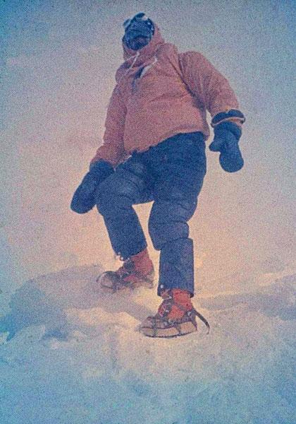 Krzysztof Wielicki na szczycie Everestu