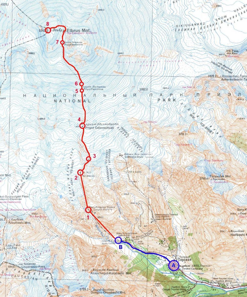 Mapa rejonu Elbru sa