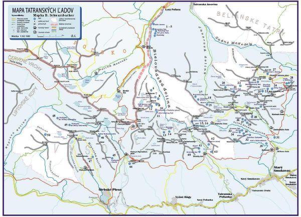 Lodospady w Tatrach mapka