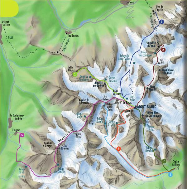 Mapka dróg wspinaczkowych na Mt Blanc