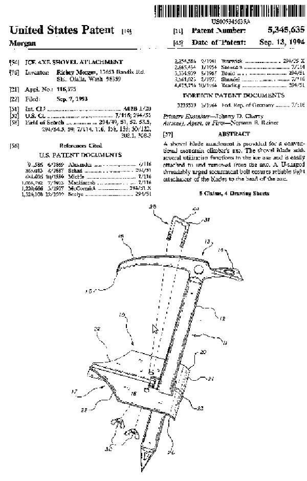 Patent na łopatę lawinową na czekanie alpinistycznym