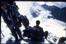 Podejście pod schronisko Gouter. W dole Glacier de Bionnassay